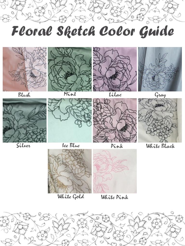 Floral Sketch Pattern color guide