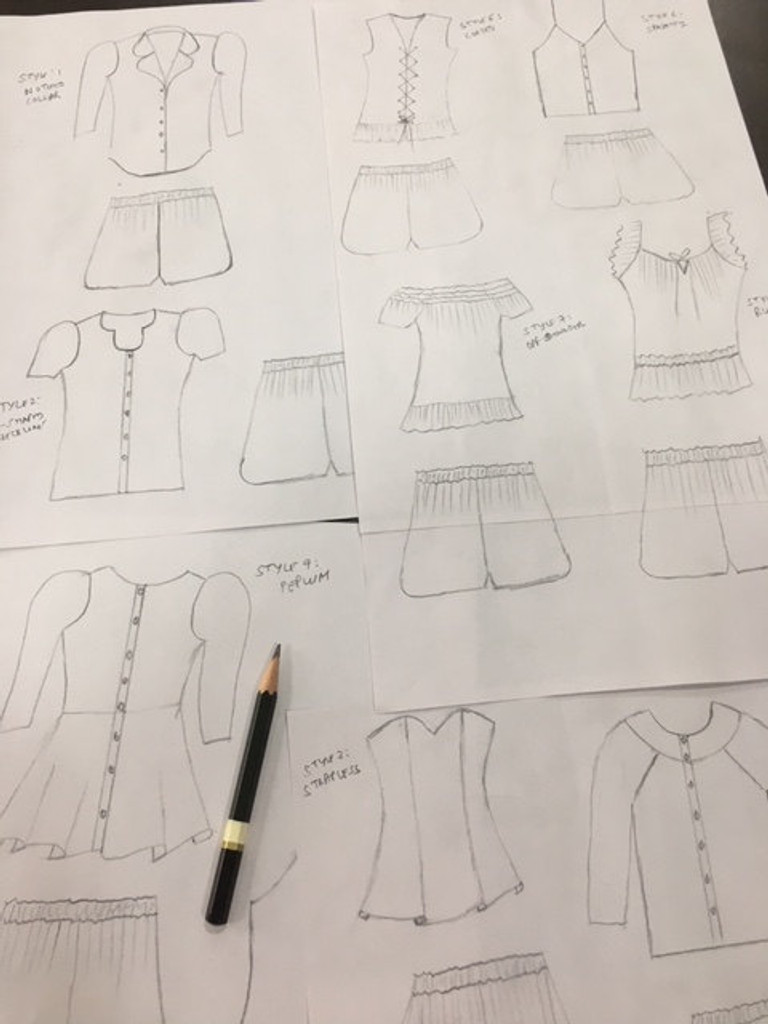 Frilly Style Long PJs in Tropical Delight Pattern Sketch