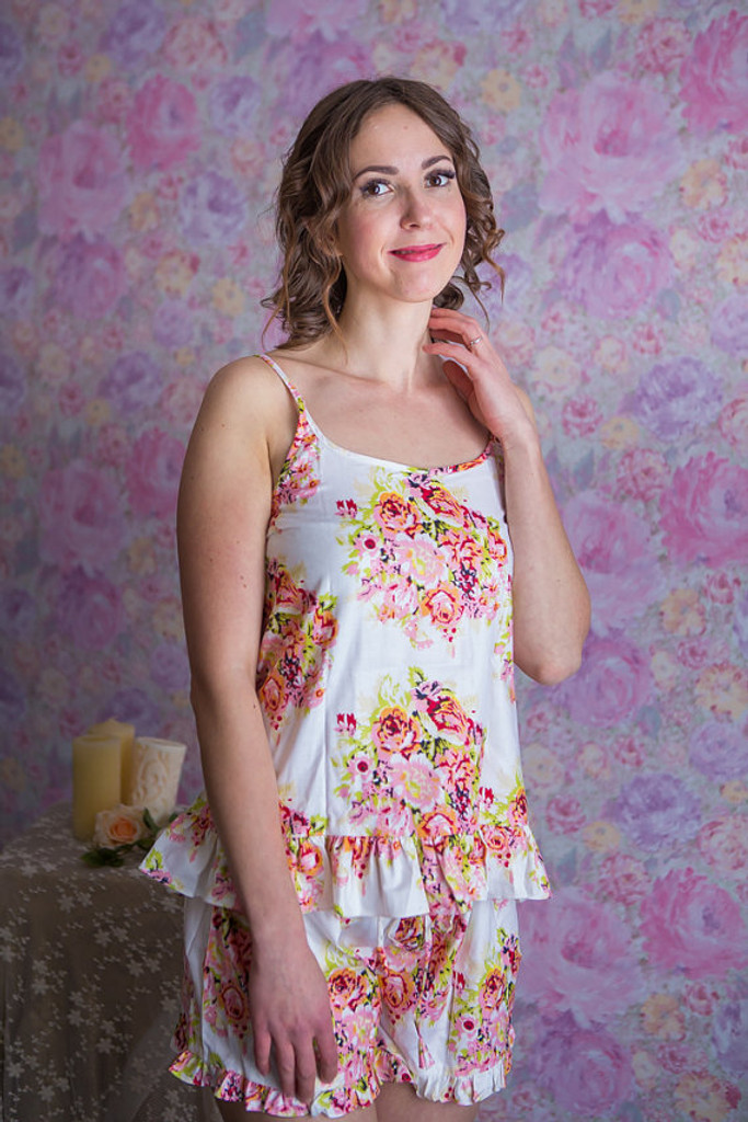 Frilly Style Pj Sets in Floral Posy Pattern