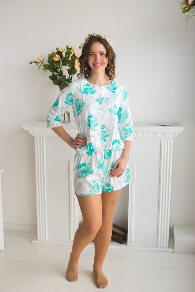 Boat Neckline Style PJs in Blushing Flowers Pattern