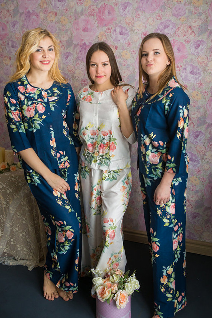 Boat Neckline Style  PJs in Angel Song Pattern