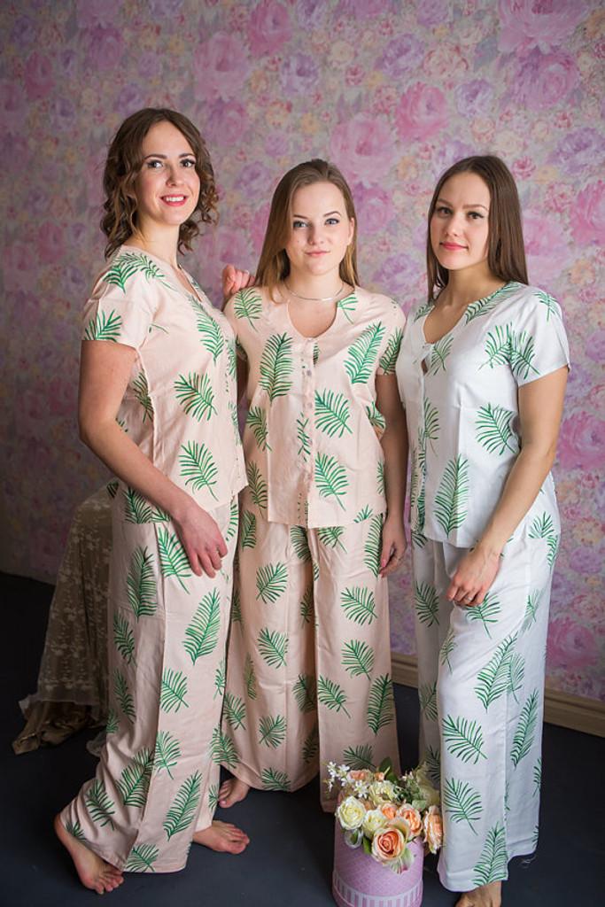 U-shaped neckline Style PJs in Tropical Delight Palm Leaves Pattern_long