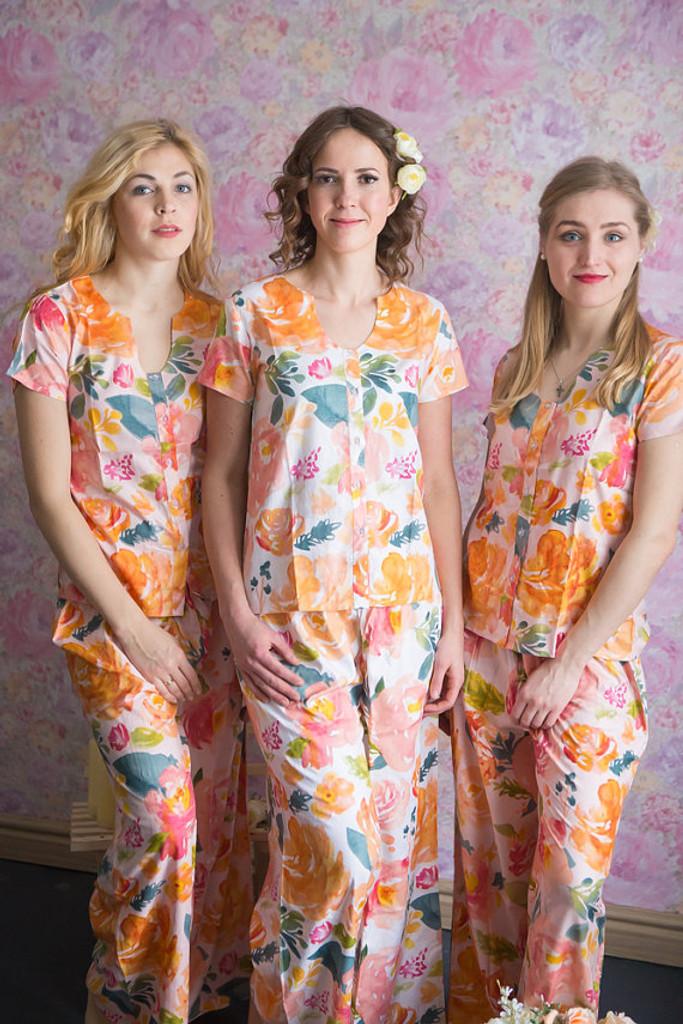 U-shaped neckline Style PJs in Her petal garden Pattern_long
