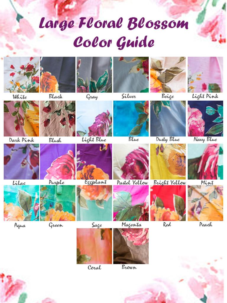 U-shaped neckline Style long PJs in Large Floral Blossom Pattern