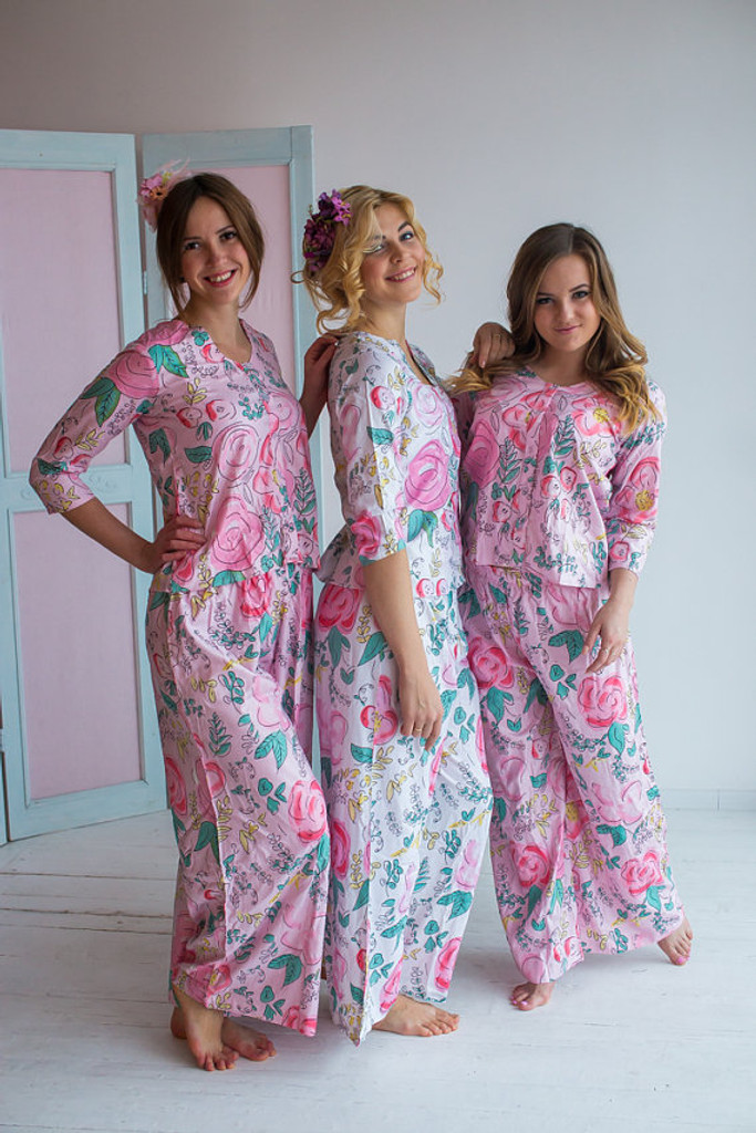 U-shaped neckline Style PJs in Whimsical Giggle Pattern_long