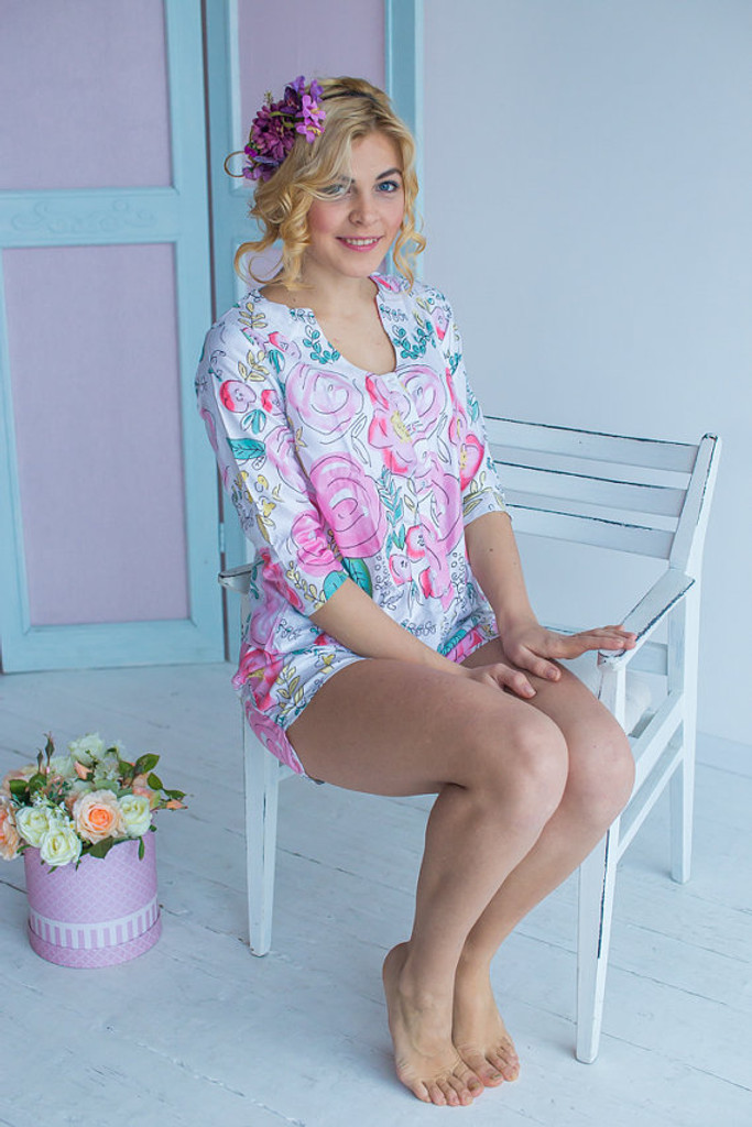 U-shaped neckline Style PJs in Whimsical Giggle Pattern