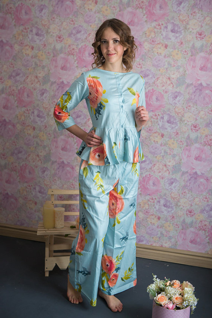 Peplum Style Long PJs in Smiling Blooms Pattern