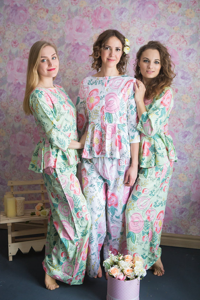 Peplum Style Long PJs in Whimsical Giggles Pattern