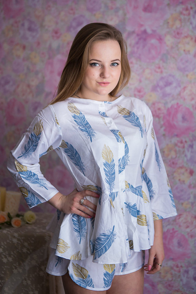 Peplum Style PJs in a feather rhyme Pattern