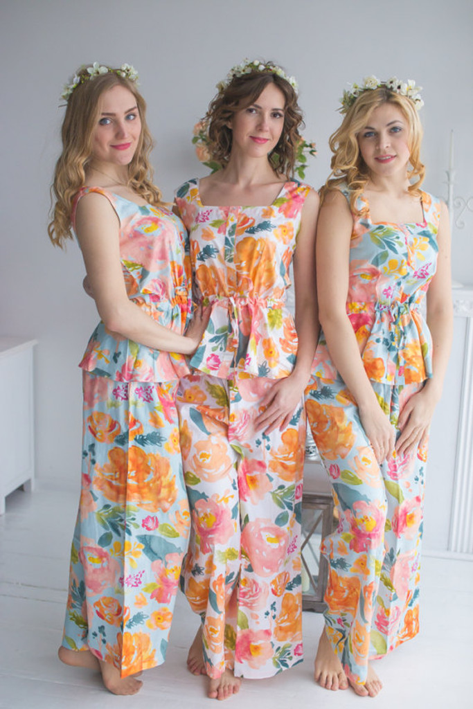 Drawstring Style PJs in Her Petal Garden Pattern_long