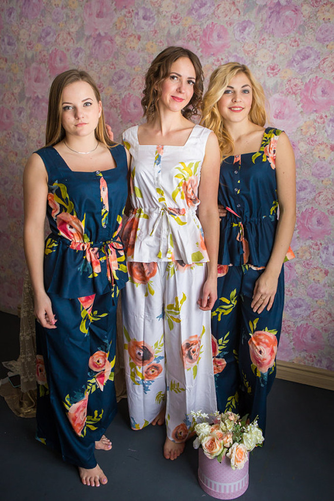 Drawstring Style Long PJs in Smiling Blooms Pattern