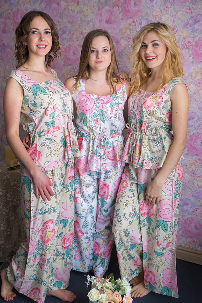Drawstring Style long PJs in Whimsical Giggles Pattern
