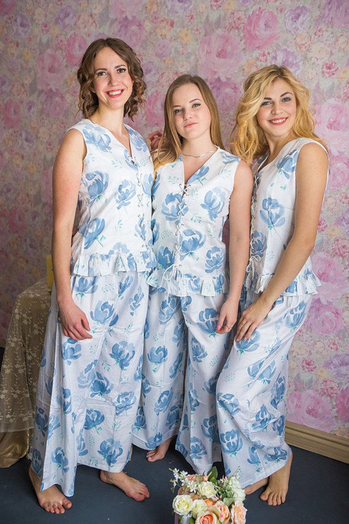 Corset Style White with Dusty Blue flowers PJs in Blushing Flowers Pattern-long