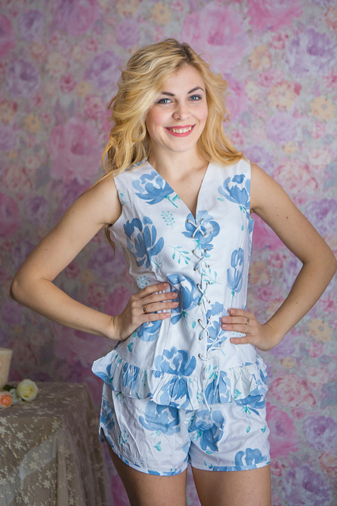 Corset Style White with Dusty Blue flowers PJs in Blushing Flowers Pattern