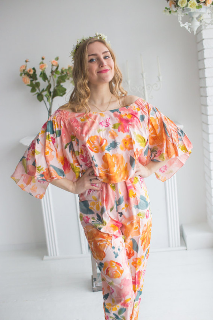 Cape Style Bridesmaids Jumpsuit in Her Petal Garden Pattern
