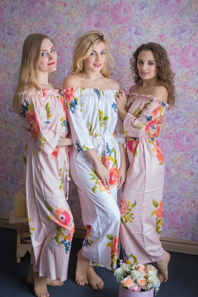 Off shoulder Style Bridesmaids Jumpsuit in Smiling Blooms Pattern