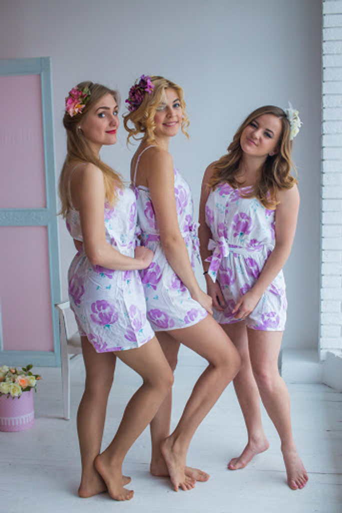 Belted Slip Style Bridesmaids Rompers in Blushing Flowers Pattern