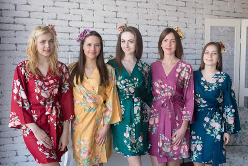 Dreamy Angel Song Pattern- Premium Plum Bridesmaids Robes Dreamy Angel Song Pattern- Premium Plum Bridesmaids Robes