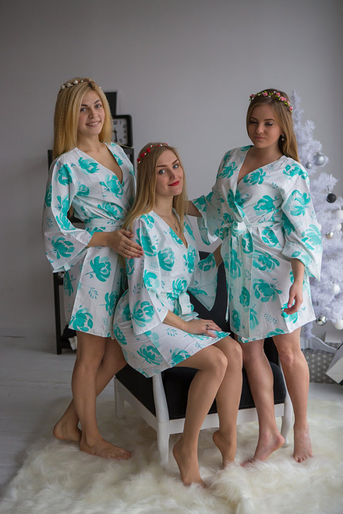 Blushing Flowers Pattern- Premium White Aqua Bridesmaids Robes