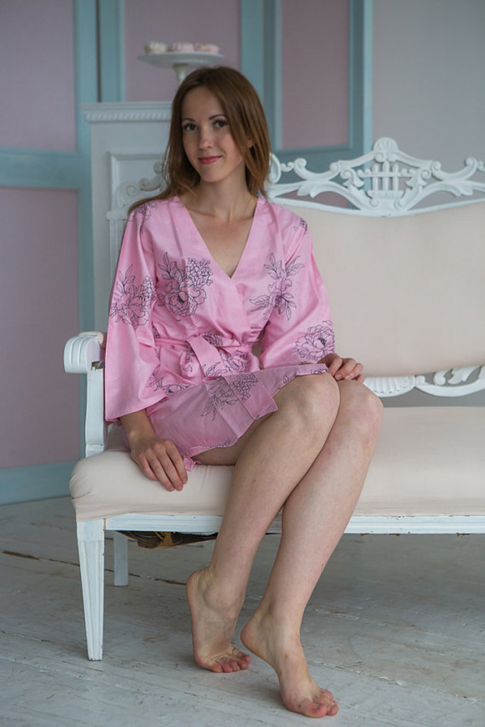 Floral Sketch Pattern- Premium Pink Bridesmaids Robes
