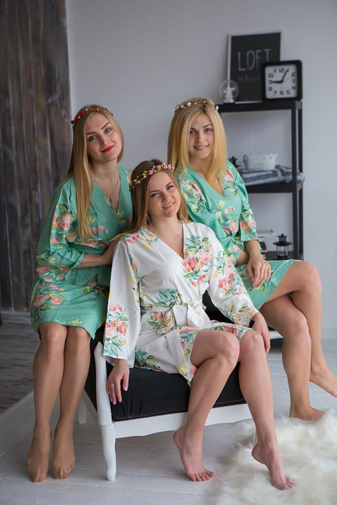 Dreamy Angel Song Pattern- Premium Dark Mint Bridesmaids Robes