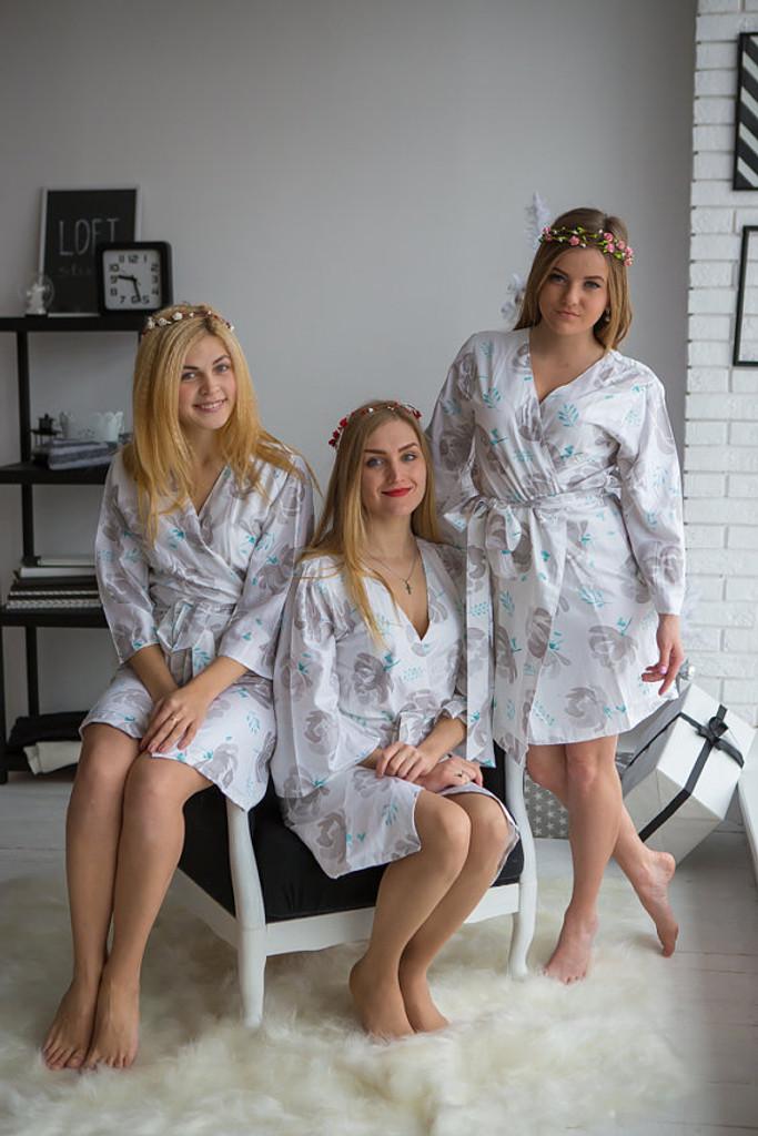 Blushing Flowers Pattern- Premium White Silver Bridesmaids Robes