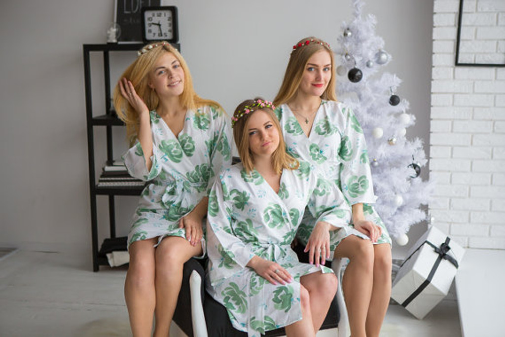 Blushing Flowers Pattern- Premium White Sage Bridesmaids Robes