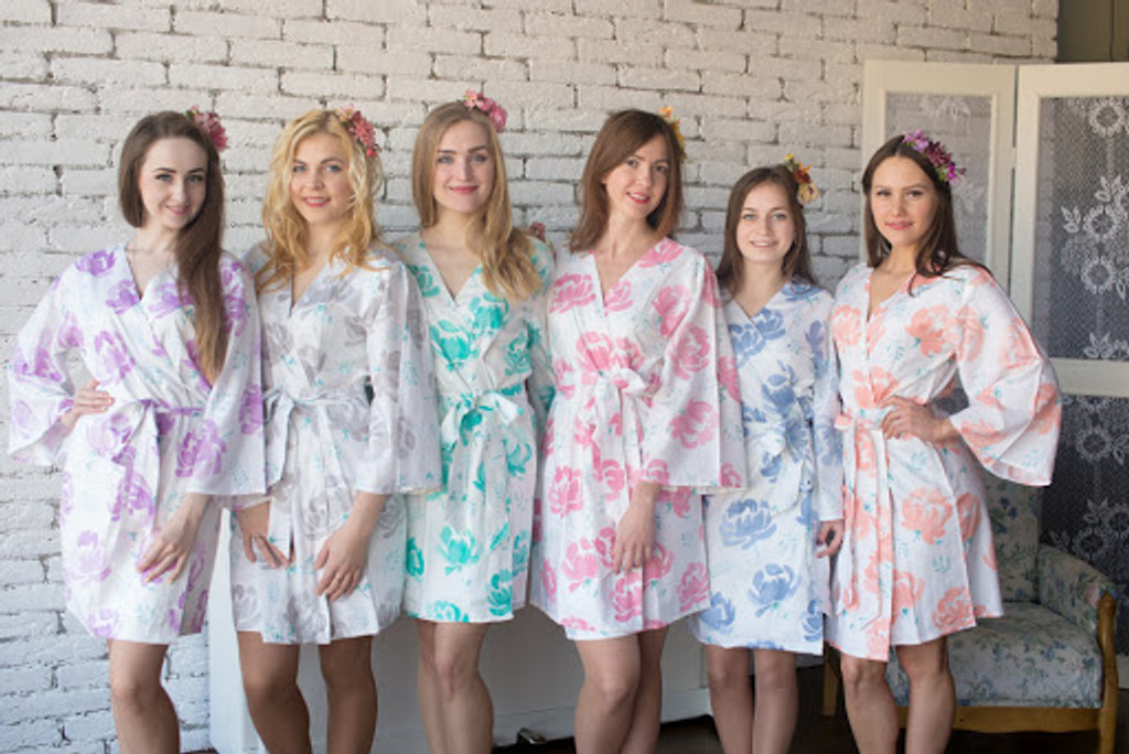 Blushing Flowers Pattern- Premium White Dusty Blue Bridesmaids Robes