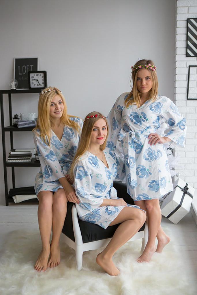 Blushing Flowers Pattern- Premium White Dusty Blue Bridesmaids Robes