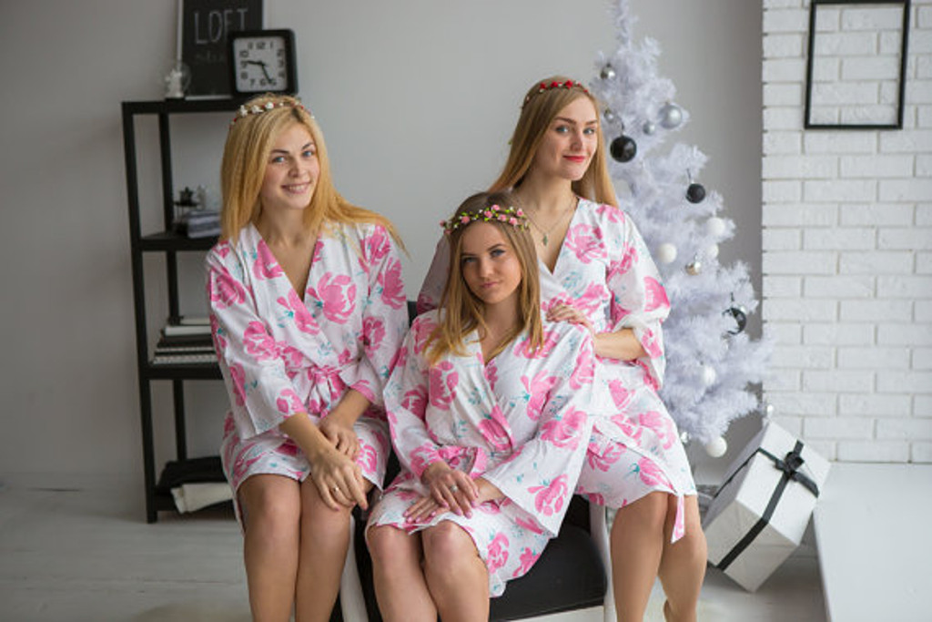 Blushing Flowers Pattern- Premium White Pink Bridesmaids Robes
