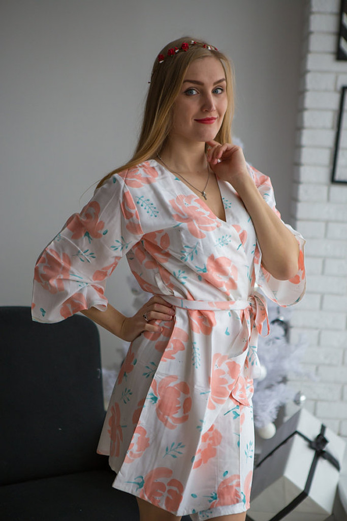 Blushing Flowers Pattern- Premium White Peach Bridesmaids Robes