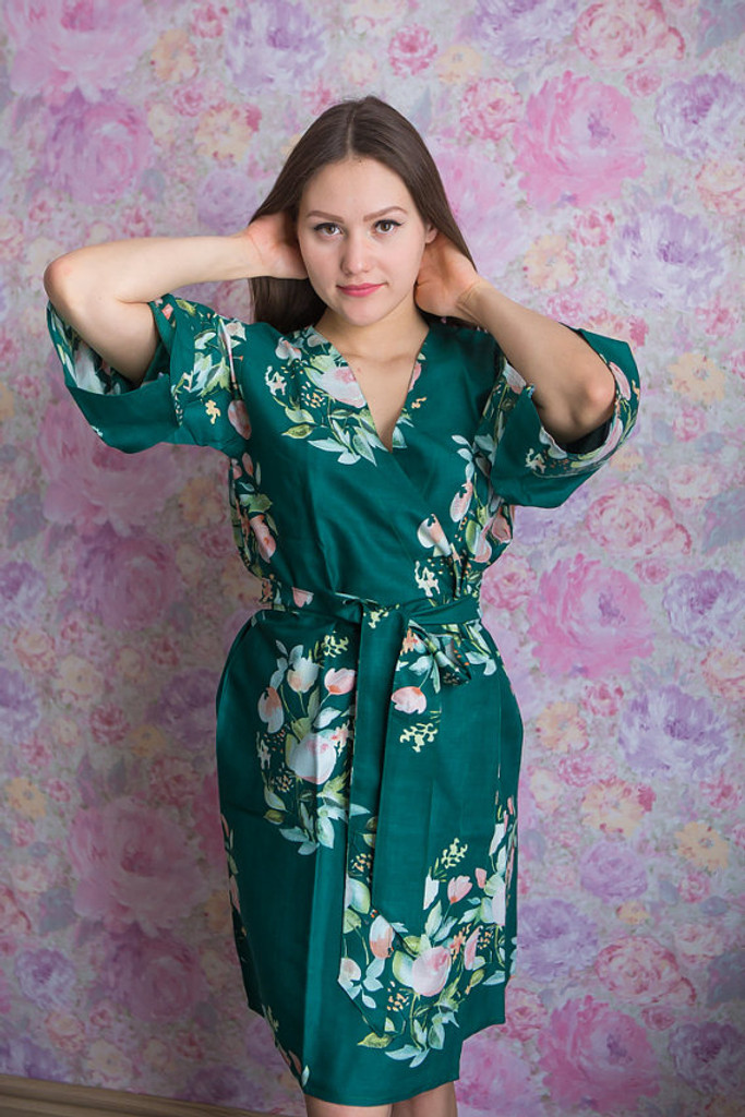 Dreamy Angel Song Pattern- Premium Dark Green Bridesmaids Robes