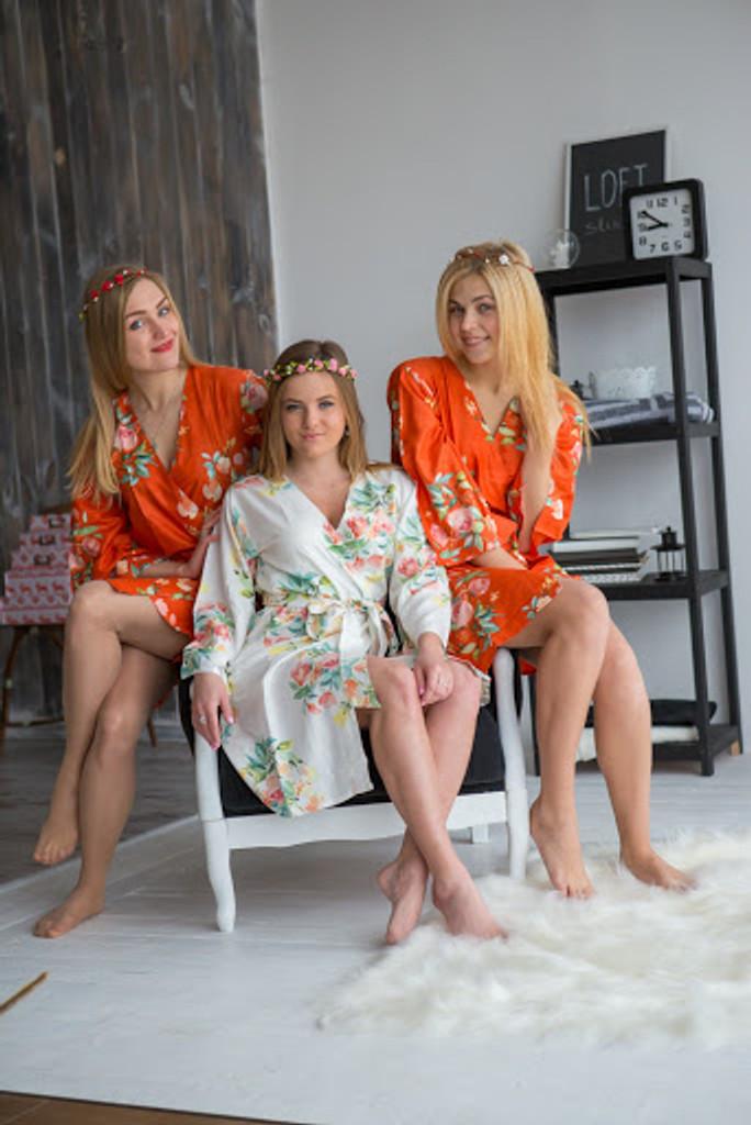Dreamy Angel Song Pattern- Premium Burnt Orange Bridesmaids Robes