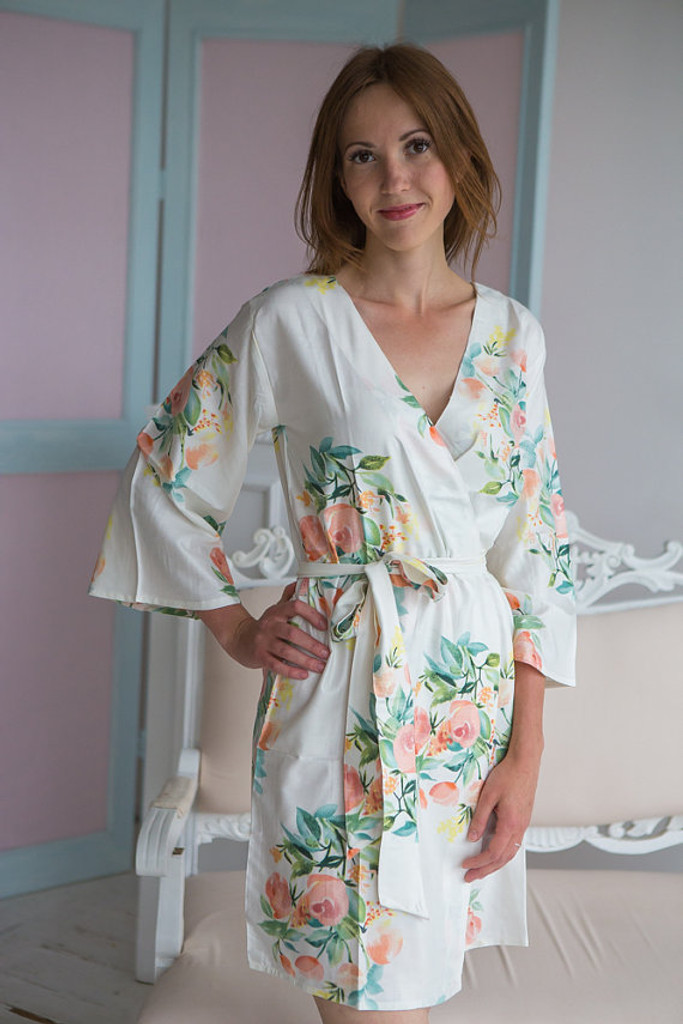 Dreamy Angel Song Pattern- Premium Teal Blue Bridesmaids Robes