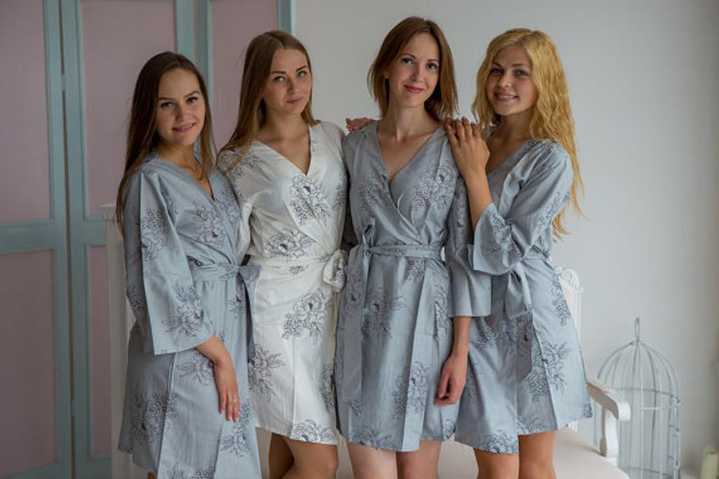 Floral Sketch Pattern- Premium Gray Bridesmaids Robes