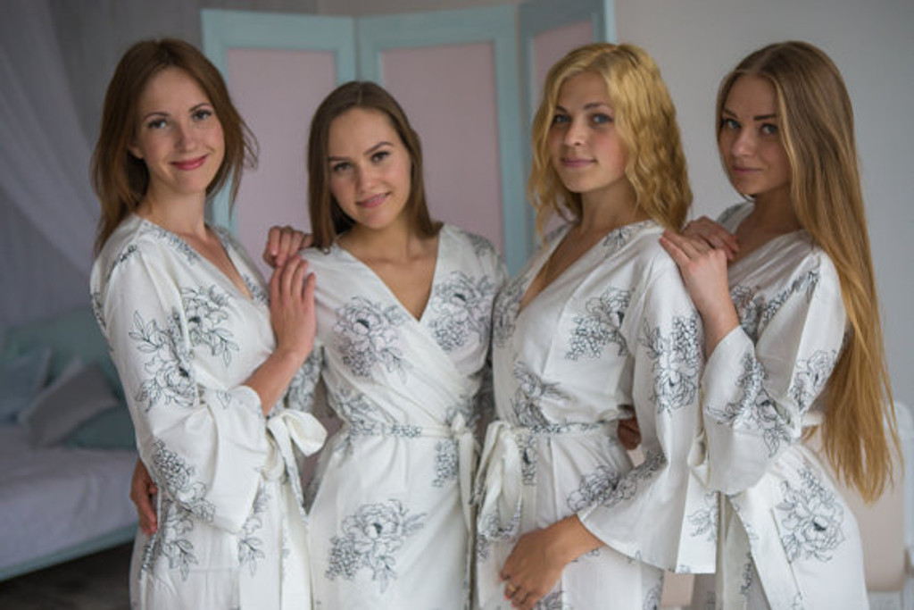 Floral Sketch Pattern- Premium White Bridesmaids Robes