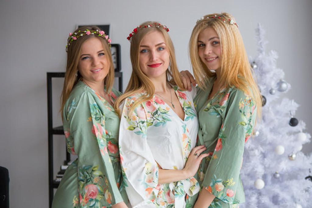 Dreamy Angel Song Pattern- Premium Grayed Jade Bridesmaids Robes