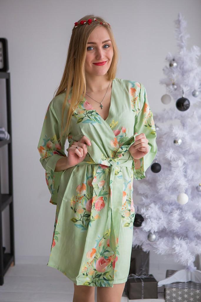 Dreamy Angel Song Pattern- Premium Soft Sage Bridesmaids Robes