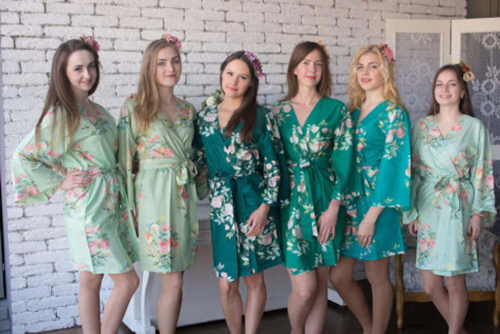 Dreamy Angel Song Pattern- Premium Watermelon Pink Bridesmaids Robes