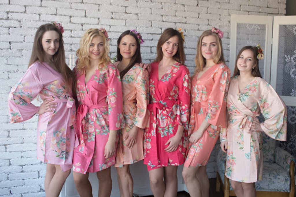 Dreamy Angel Song Pattern- Premium Coral Bridesmaids Robes