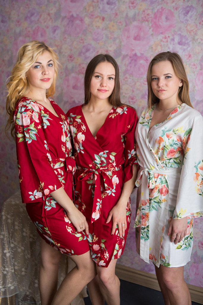 Dreamy Angel Song Pattern- Premium Cranberry Bridesmaids Robes