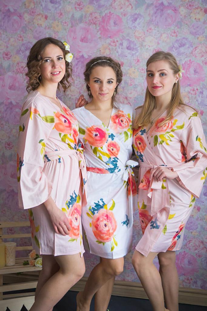 Smiling Blooms Pattern- Premium Blush Bridesmaids Robes