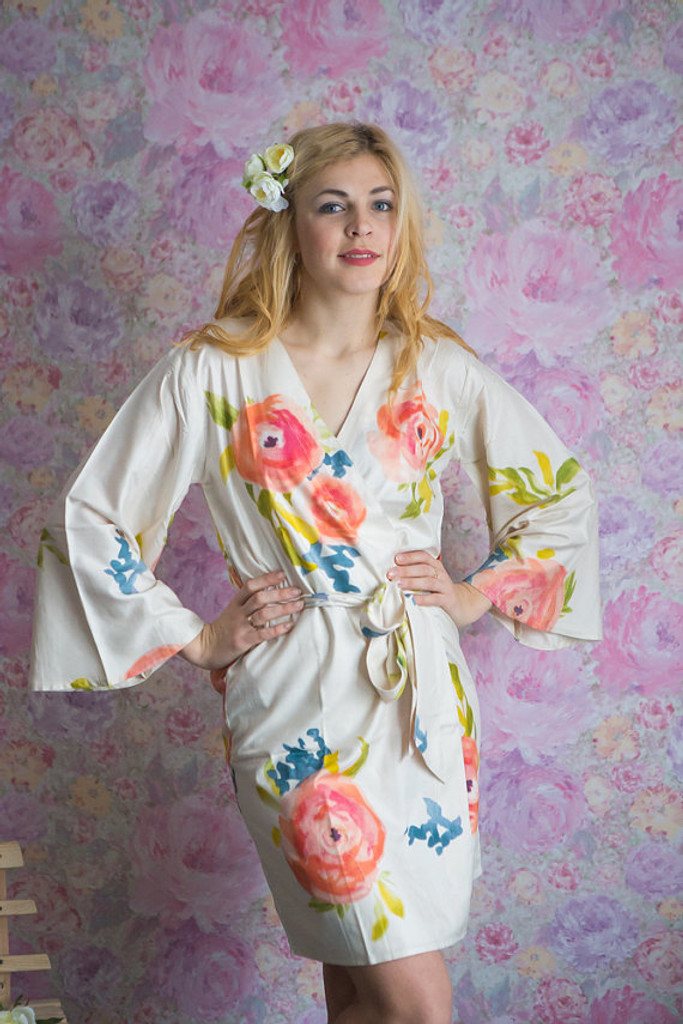 Smiling Blooms Pattern- Premium Ivory Bridesmaids Robes