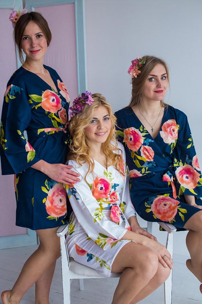 Smiling Blooms Pattern- Premium Navy Blue Bridesmaids Robes