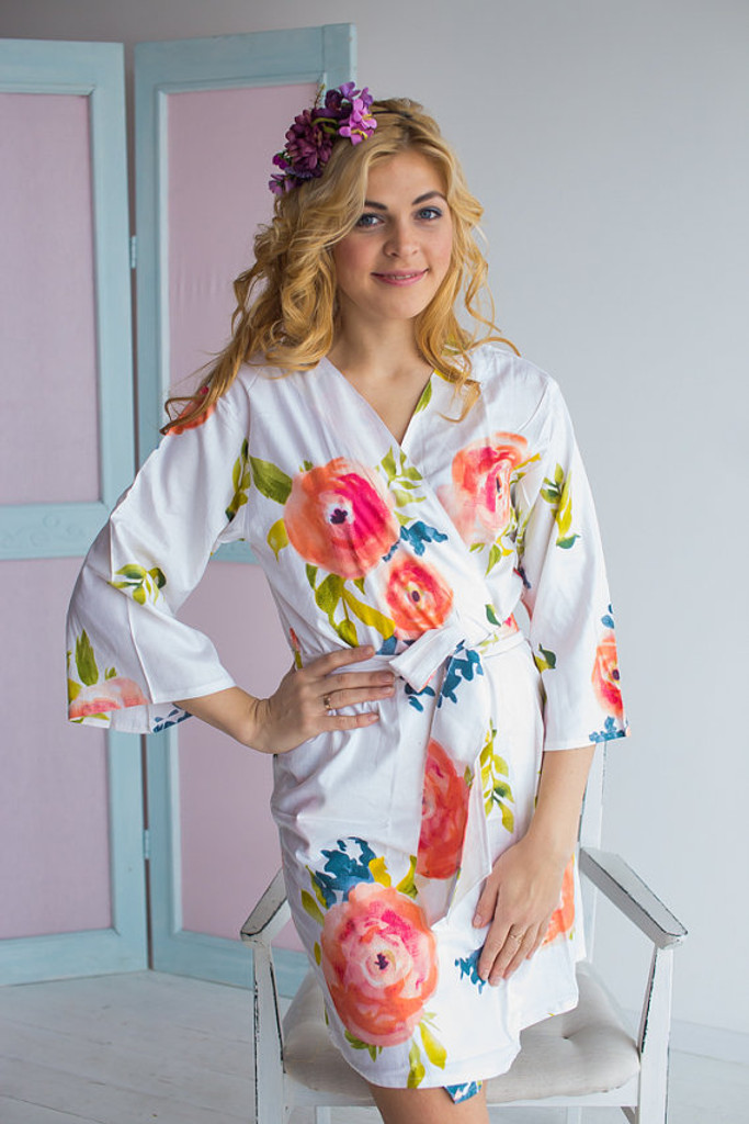 Smiling Blooms Pattern- Premium Blueberry Blue Bridesmaids Robes