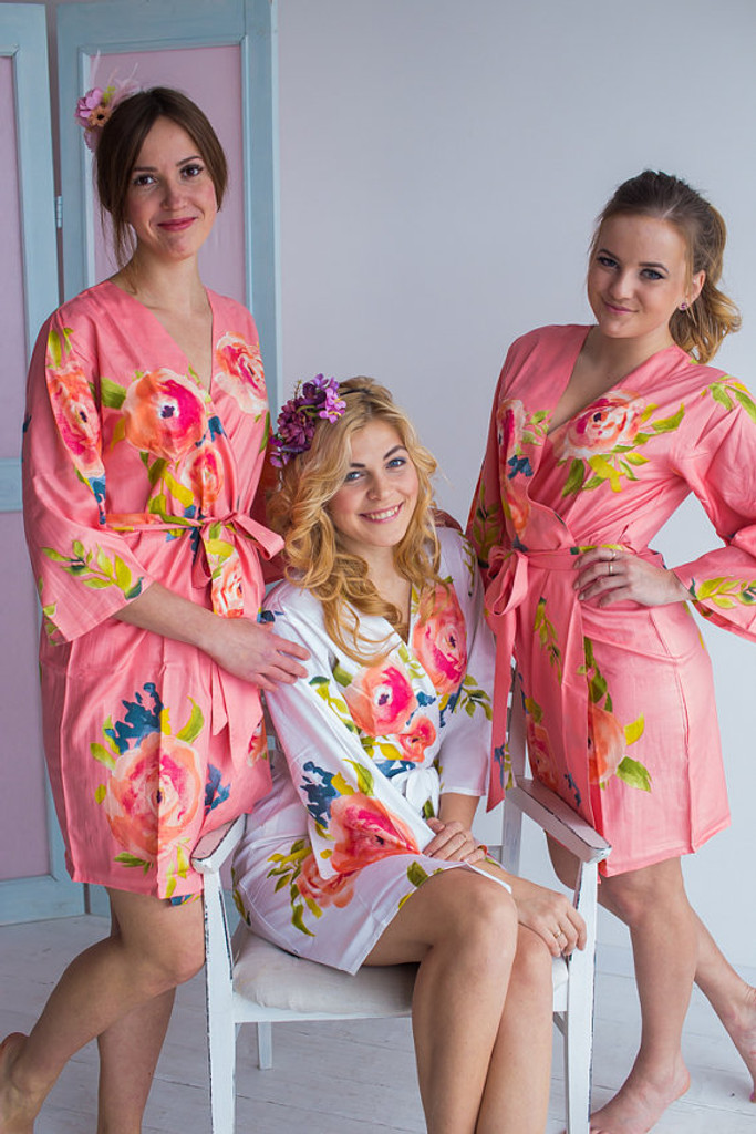 Smiling Blooms Pattern- Premium Peach Bridesmaids Robes