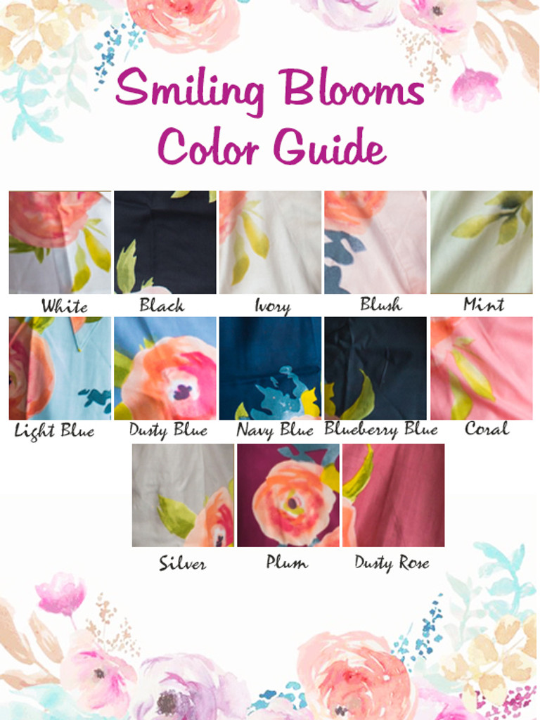 Smiling Blooms Pattern Color Guide