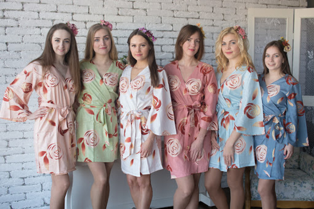A rumor among Fairies Pattern- Premium Dusty Blue Bridesmaids Robes