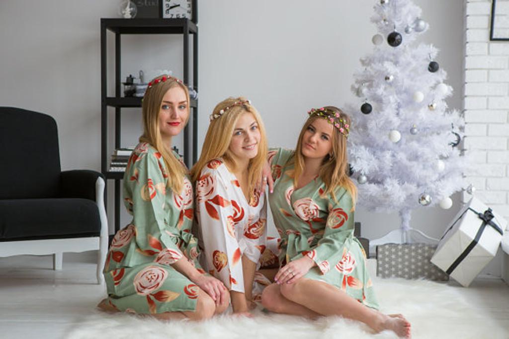 A rumor among Fairies Pattern- Premium Grayed Jade Bridesmaids Robes