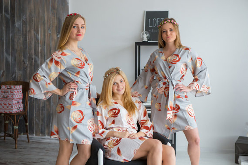 A rumor among Fairies Pattern- Premium Silver Bridesmaids Robes